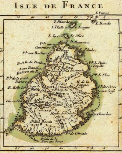BAUDIN-Carte de l'ISle de France - Madagascar