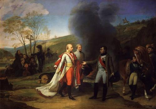 BC3CA-Austerlitz-Entrevue de Napoléon 1er et de François II après la bataille d'Austerlitz, le 4 décembre 1805-Antoine Jean Gros) Chateau de Versailles