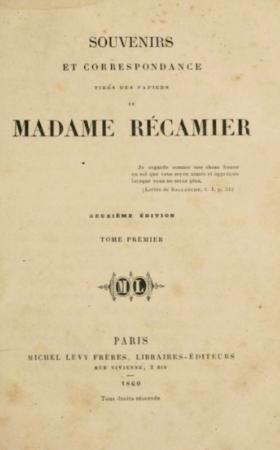 Li1-2V - RECAMIER - Souvenirs et correspondance tirés des papiers de Madam Récamier